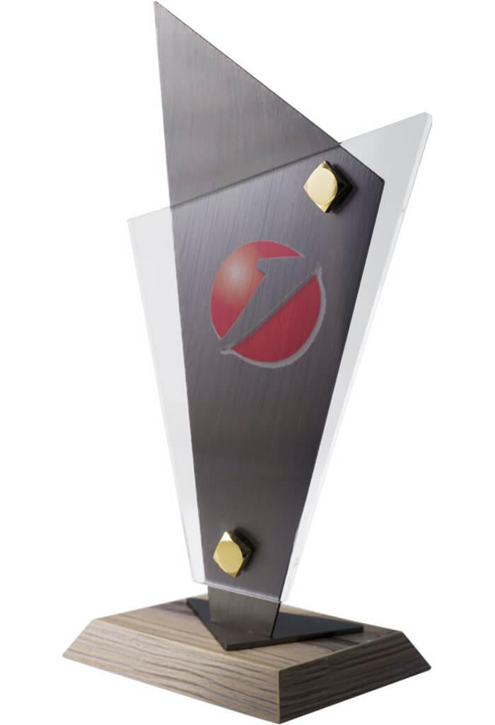 Trofeo in acrilico e metallo