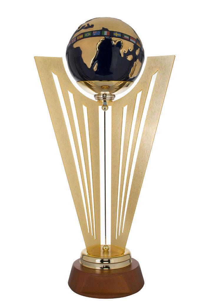 Trofeo con globo in fine ceramica